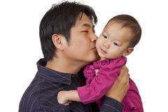 Father kiss little daughter Royalty Free Stock Images