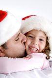 Father kissing his little daughter. Father loving his little daughter Royalty Free Stock Photos