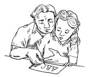 Father learning daughter to write A B C, holding pen in hands together. Hand drawn doodle, sketch in pop art style, vector illustration Royalty Free Stock Photography