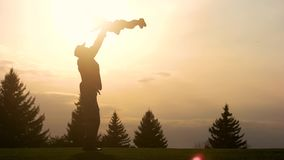 Father lifting up his daughter in the park while sunset. stock footage