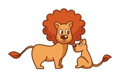 Father lion with thick mane and little lionet Royalty Free Stock Photography