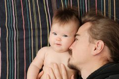 Father and little baby girl portrait, happy fatherhood. Young dad with beard and little daughter Stock Image