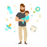 Father with Little Baby. Vector Royalty Free Stock Image