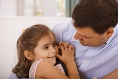 Father and little daughter embracing Royalty Free Stock Image