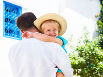 Father with little daughter outdoors Stock Images