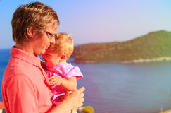Father and little daughter on sea vacation Stock Images