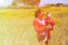 Father and little daughter on summer wheat field Stock Photos