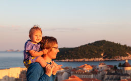 Father and little daughter travel in Dubrovnik, Croatia Royalty Free Stock Photo
