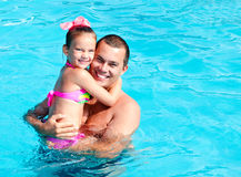 Father and little girl on summer vacation Stock Photos