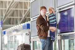 Father and little son at the airport Royalty Free Stock Photos