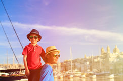 Father and little son in the city of Valetta Royalty Free Stock Photography