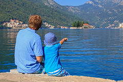 Father and little son on sea vacation Royalty Free Stock Photos