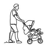 Father with little son in stroller. Sunny park. Continuous line drawing. Isolated on the white background. Vector Royalty Free Stock Photos