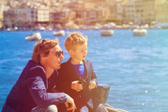 Father and little son travel in Europe, Malta Stock Images