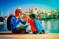 Father and son travel in Malta, Europe. Father and little son travel in Malta, Europe stock photos