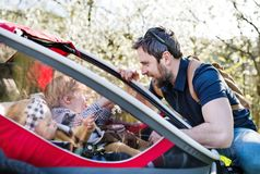 A father looking at two toddlers in jogging stroller outside in spring nature. A father looking at two toddler children sitting in jogging stroller outside in Stock Images
