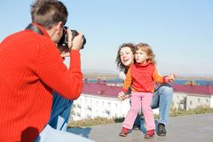 Father Make Photo Royalty Free Stock Photography