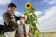Father measuring height of son by sunflower Stock Photo