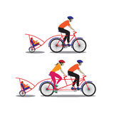 Father and mother biking with little son. Royalty Free Stock Images