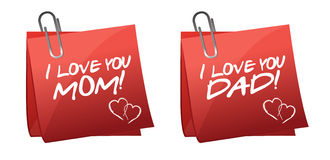 Father and mother day greetings on a paper notes Stock Photo