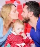 Father, mother and doughter child. Shopping online. Valentines day. Red boxes. Happy family with present box. Love and. Trust in family. Bearded men and women stock image