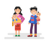Father and mother holding children in sling scarf. Vector flat isolated illustration of father and mother holding children in sling scarf Royalty Free Stock Photography