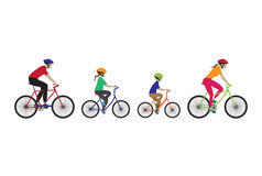 Father, mother and kids biking. Stock Photo