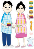 Father Mother Made Cup Cake_eps. Illustration of cartoon father mother made cup cake with elements Royalty Free Stock Image