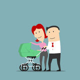 Father and mother over baby carriage. Father and mother smiling over baby carriage or buggy. Dad and mom couple with pram as cartoon characters. Conception of Stock Photo