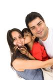 Father Mother and Son. Son giving a kiss in his mother with his father Stock Image