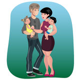 Father, mother, son and daughter together. Happy family.Vector illustration of a flat design Royalty Free Stock Photos