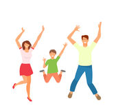 Father, Mother and Son Jumping. Happy Active Family Isolated Royalty Free Stock Photo