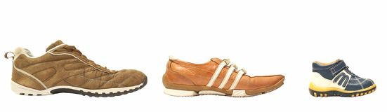 Father mother son shoes. Over white background Royalty Free Stock Photos