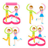 Father and mother to help the elderly. A family Character Design Royalty Free Stock Photos