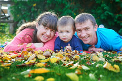 Father, mother and young son at a picnic in the park Royalty Free Stock Photo