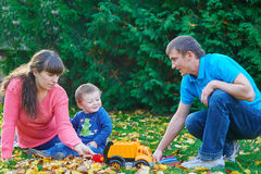 Father, mother and young son at a picnic in the park Stock Photography