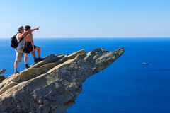 Father on a mountaintop Stock Photography