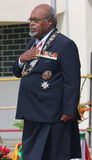Father of the Nation of PNG. Founding Prime Minister of Papua New Guinea, Grand Chief Sir Michael Somare...showing respects during the recent 39th Independence stock images
