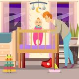 Father Near Son Orthogonal Background. Father near son standing in cot in kid room during parental leave orthogonal background vector illustration Stock Image