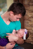 Father with newborn baby in hands Royalty Free Stock Photos