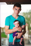 Father with newborn baby in hands Stock Photography