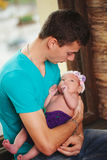 Father with newborn baby in hands Royalty Free Stock Photo