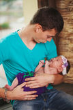 Father with newborn baby in hands Stock Photo