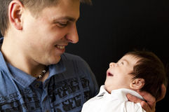 Father and newborn son Stock Photo