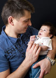 Father and newborn son Royalty Free Stock Photo