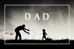 Father with open arms and his son outdoors. Fathers day concept. Royalty Free Stock Images