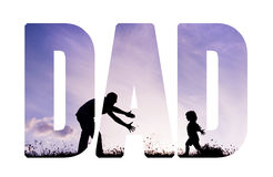 Father with open arms and his son outdoors. Fathers day concept. Stock Photo