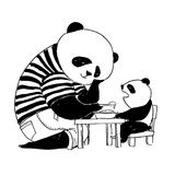 Father panda in black and white t-shirt feeding his little son p Royalty Free Stock Images