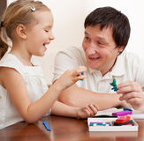Father play with child at home royalty free stock photo