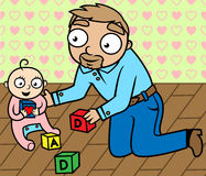Father playing with baby girl in children's room. Cartoon vector illustration of father playing with his baby girl in children's room Royalty Free Stock Photography